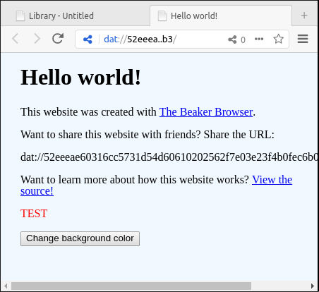 Beaker displaying index.html