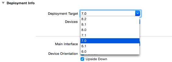 The deployment targets in our program's project settings.